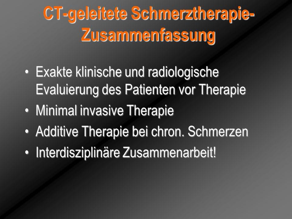 CT-geleitete Schmerztherapie-Zusammenfassung