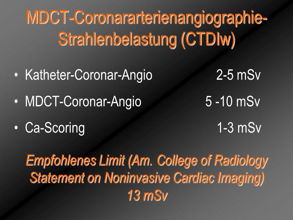 MDCT-Coronararterienangiographie-Strahlenbelastung (CTDIw)