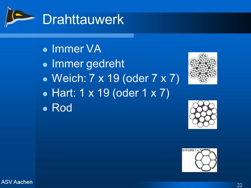Drahttauwerk Immer VA Immer gedreht Weich: 7 x 19 (oder 7 x 7)