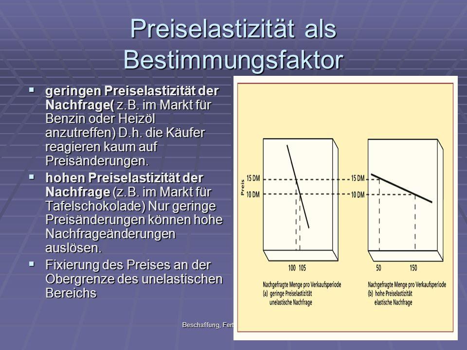 Preiselastizität als Bestimmungsfaktor