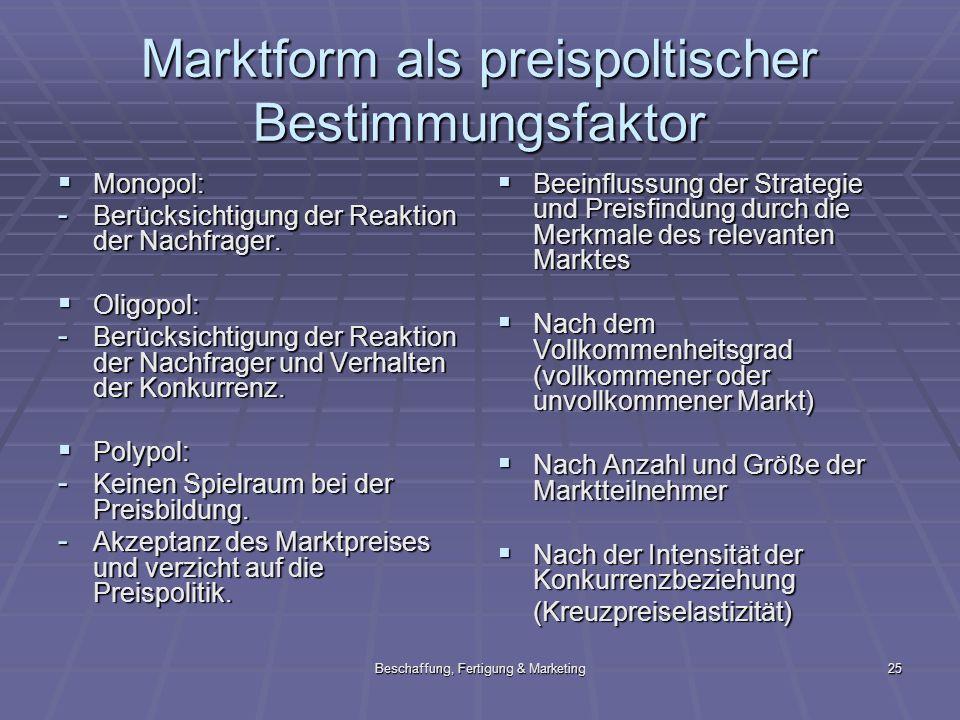 Marktform als preispoltischer Bestimmungsfaktor
