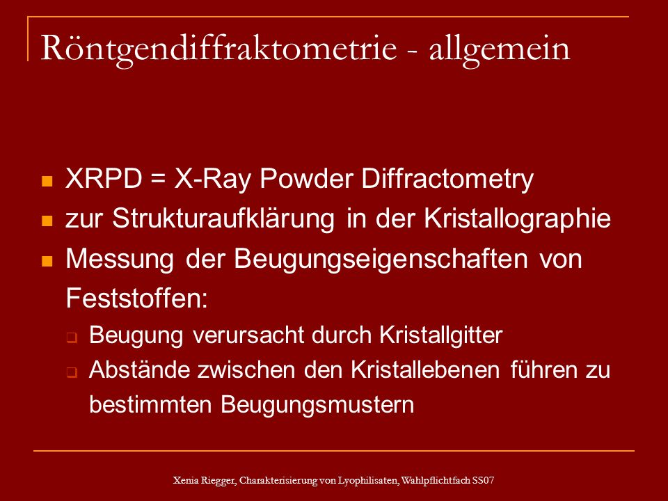 Röntgendiffraktometrie - allgemein