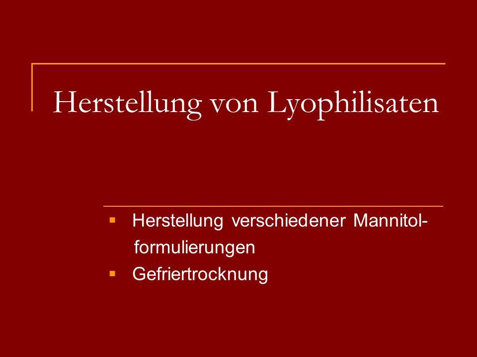 Herstellung von Lyophilisaten
