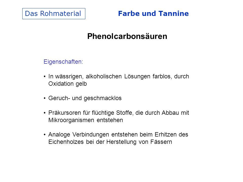 Phenolcarbonsäuren Das Rohmaterial Farbe und Tannine Eigenschaften: