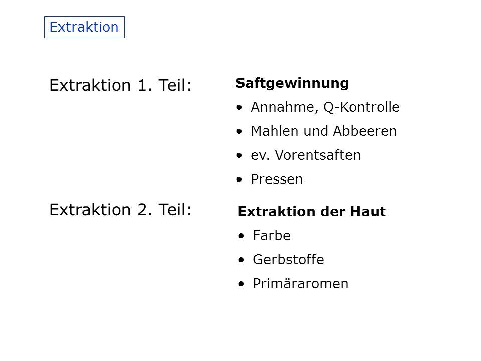Extraktion 1. Teil: Extraktion 2. Teil: Extraktion Saftgewinnung