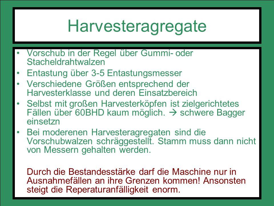 Harvesteragregate Vorschub in der Regel über Gummi- oder Stacheldrahtwalzen. Entastung über 3-5 Entastungsmesser.