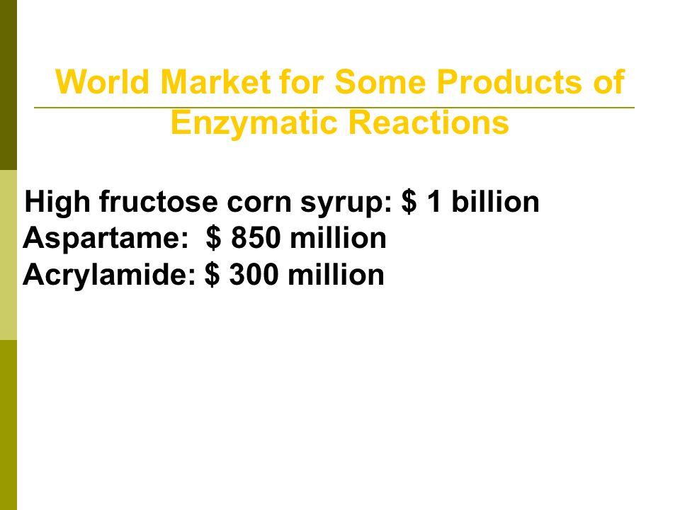 World Market for Some Products of Enzymatic Reactions