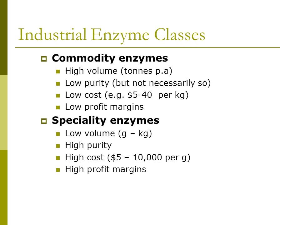 Industrial Enzyme Classes