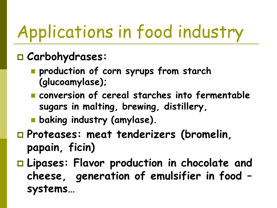 Applications in food industry