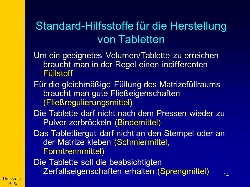 Standard-Hilfsstoffe für die Herstellung von Tabletten