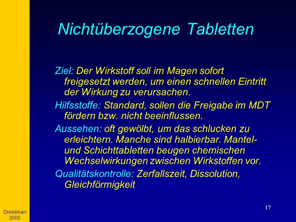 Nichtüberzogene Tabletten