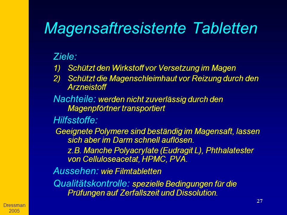 Magensaftresistente Tabletten
