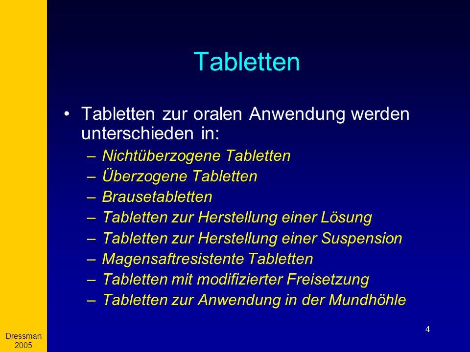 Tabletten Tabletten zur oralen Anwendung werden unterschieden in: