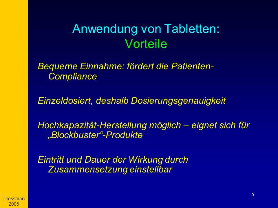 Anwendung von Tabletten: Vorteile