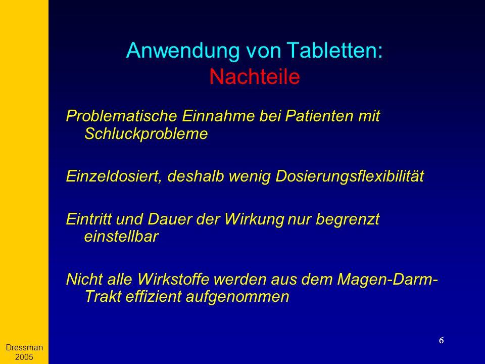 Anwendung von Tabletten: Nachteile
