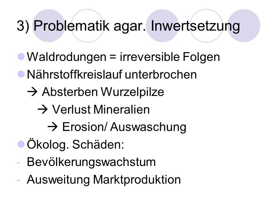 3) Problematik agar. Inwertsetzung