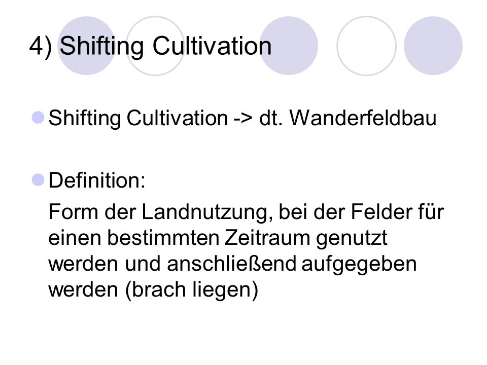 4) Shifting Cultivation