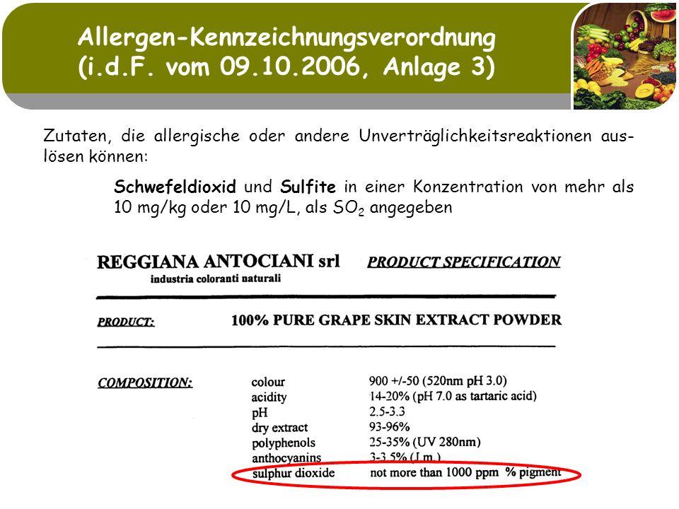 Allergen-Kennzeichnungsverordnung (i.d.F. vom 09.10.2006, Anlage 3)