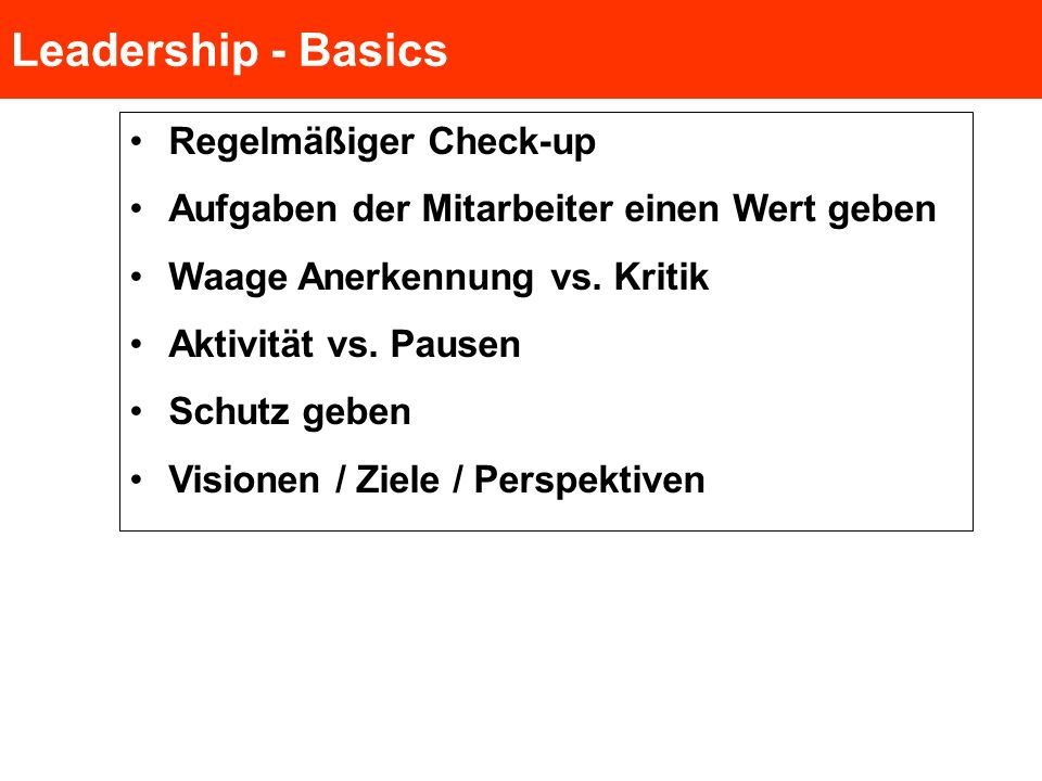 Leadership - Basics Regelmäßiger Check-up