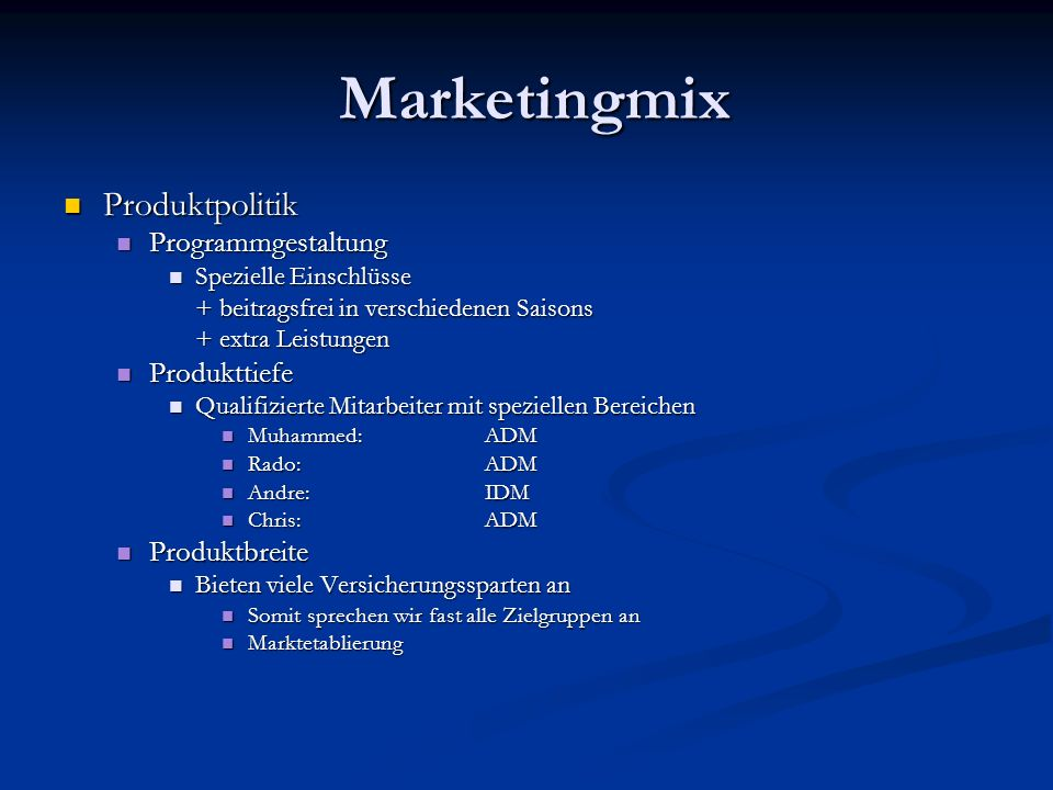 Marketingmix Produktpolitik Programmgestaltung Produkttiefe