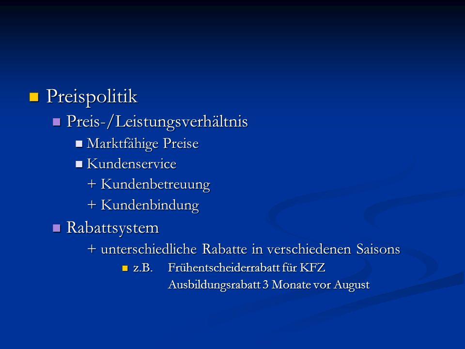 Preispolitik Preis-/Leistungsverhältnis Rabattsystem