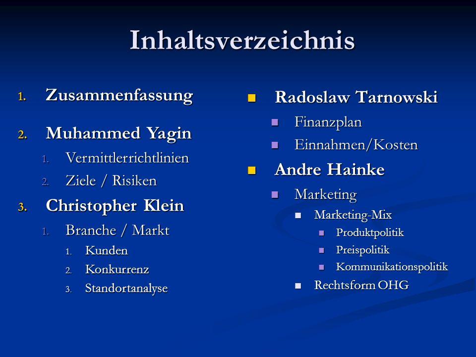 Inhaltsverzeichnis Zusammenfassung Radoslaw Tarnowski Muhammed Yagin