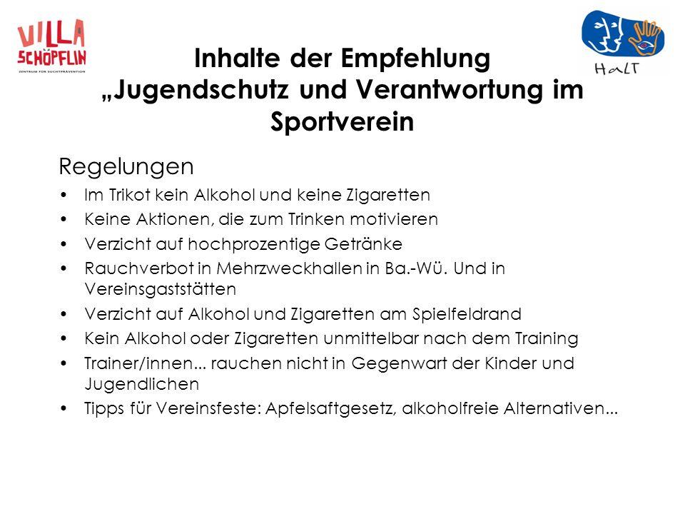 """Inhalte der Empfehlung """"Jugendschutz und Verantwortung im Sportverein"""