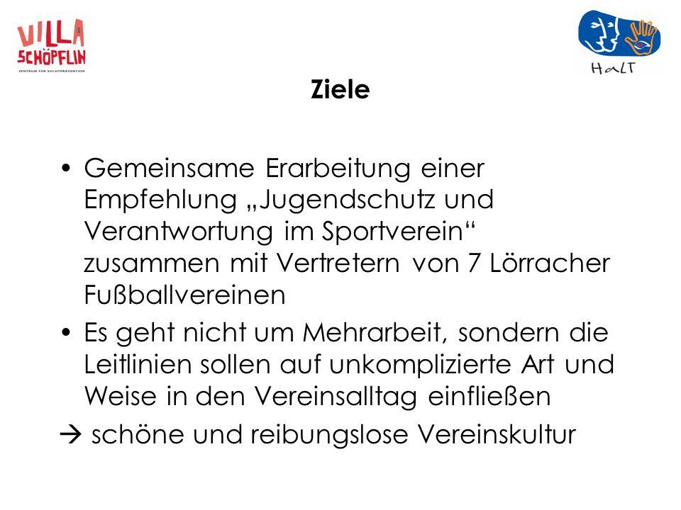 """Ziele Gemeinsame Erarbeitung einer Empfehlung """"Jugendschutz und Verantwortung im Sportverein zusammen mit Vertretern von 7 Lörracher Fußballvereinen."""