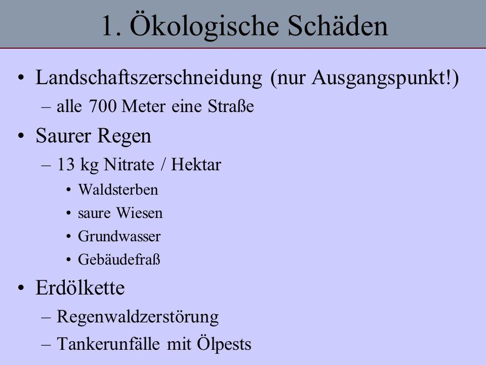 1. Ökologische Schäden Landschaftszerschneidung (nur Ausgangspunkt!)