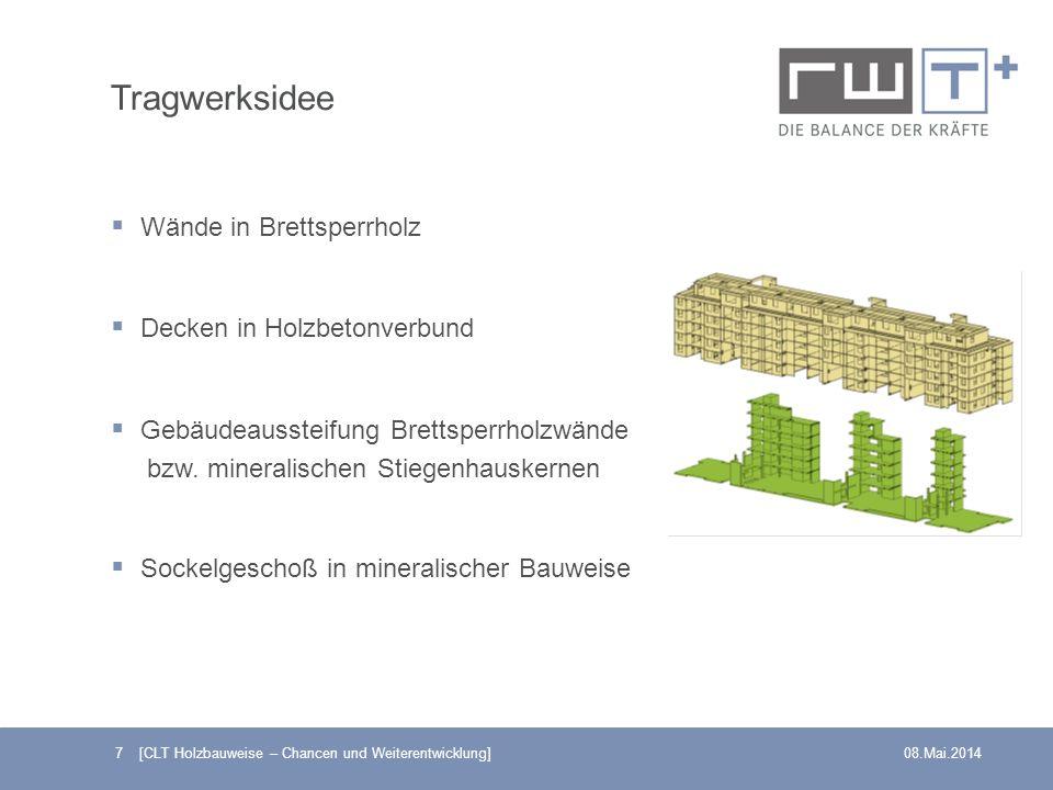 Tragwerksidee Wände in Brettsperrholz Decken in Holzbetonverbund