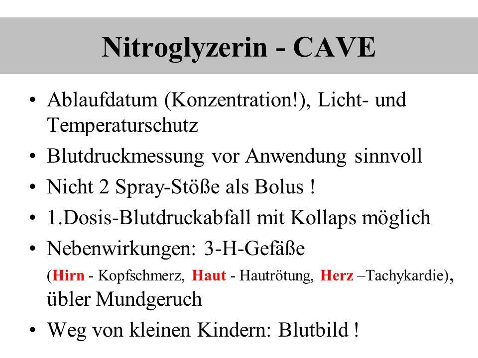 Nitroglyzerin - CAVE Ablaufdatum (Konzentration!), Licht- und Temperaturschutz. Blutdruckmessung vor Anwendung sinnvoll.