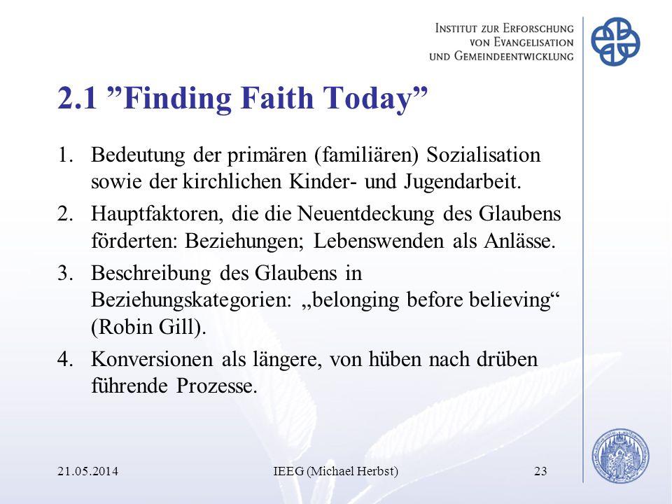 2.1 Finding Faith Today Bedeutung der primären (familiären) Sozialisation sowie der kirchlichen Kinder- und Jugendarbeit.