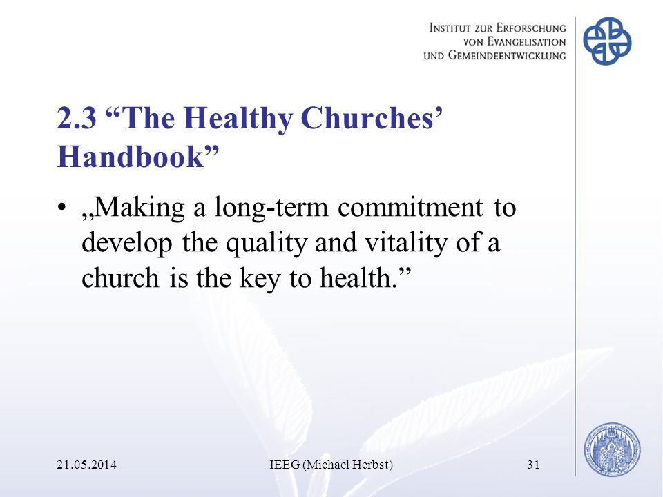 2.3 The Healthy Churches' Handbook