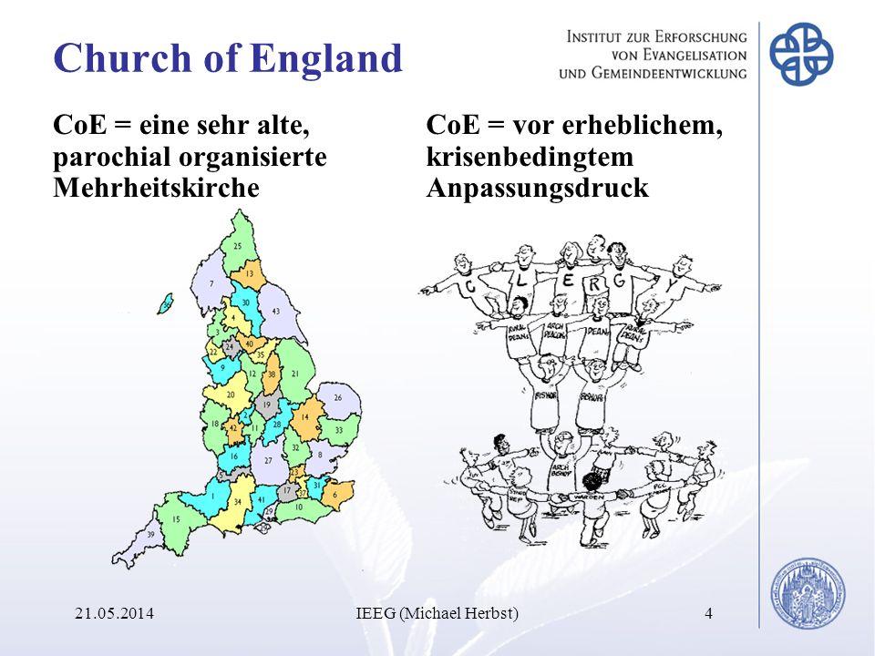Church of England CoE = eine sehr alte, parochial organisierte Mehrheitskirche. CoE = vor erheblichem, krisenbedingtem Anpassungsdruck.