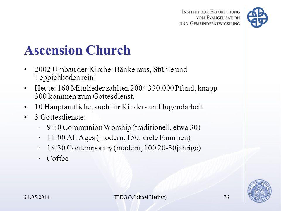 Ascension Church 2002 Umbau der Kirche: Bänke raus, Stühle und Teppichboden rein!