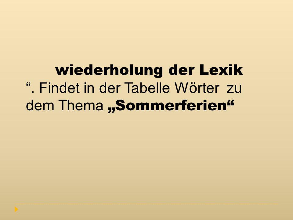 wiederholung der Lexik
