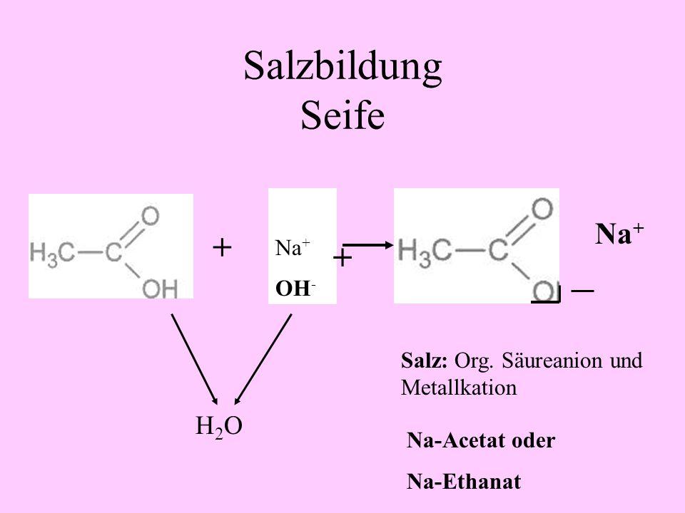 Salzbildung Seife + + Na+ Na+ OH-