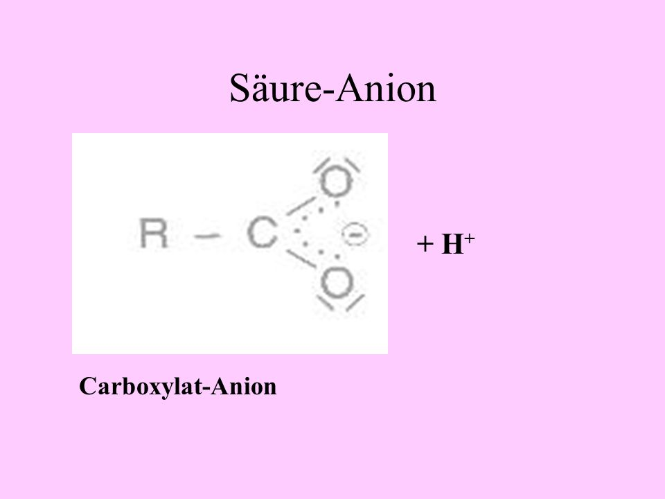 Säure-Anion + H+ Carboxylat-Anion