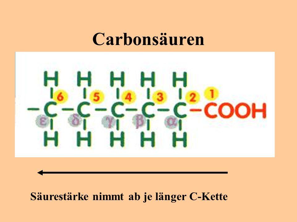 Carbonsäuren Säurestärke nimmt ab je länger C-Kette
