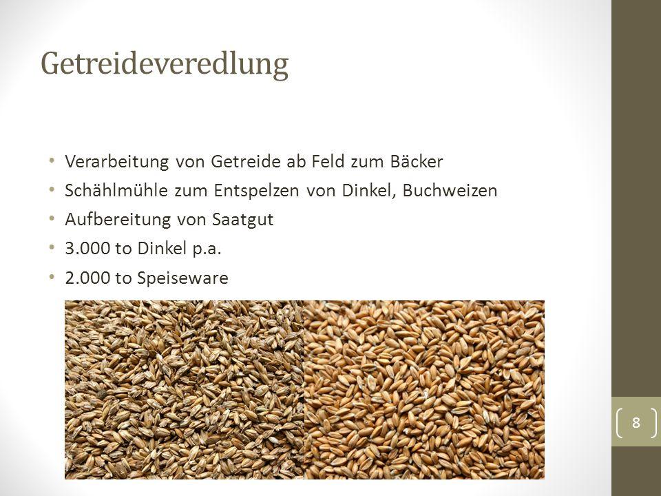 Getreideveredlung Verarbeitung von Getreide ab Feld zum Bäcker