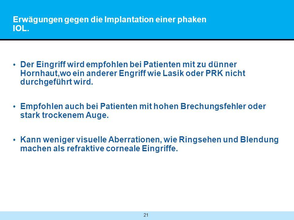 Erwägungen gegen die Implantation einer phaken IOL.