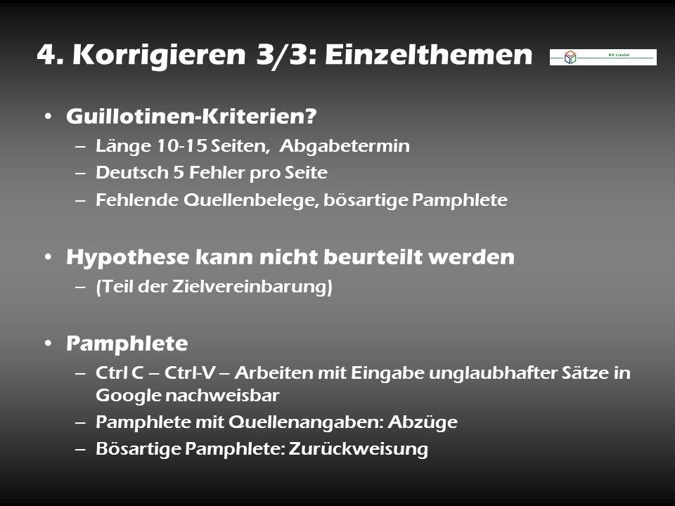 4. Korrigieren 3/3: Einzelthemen