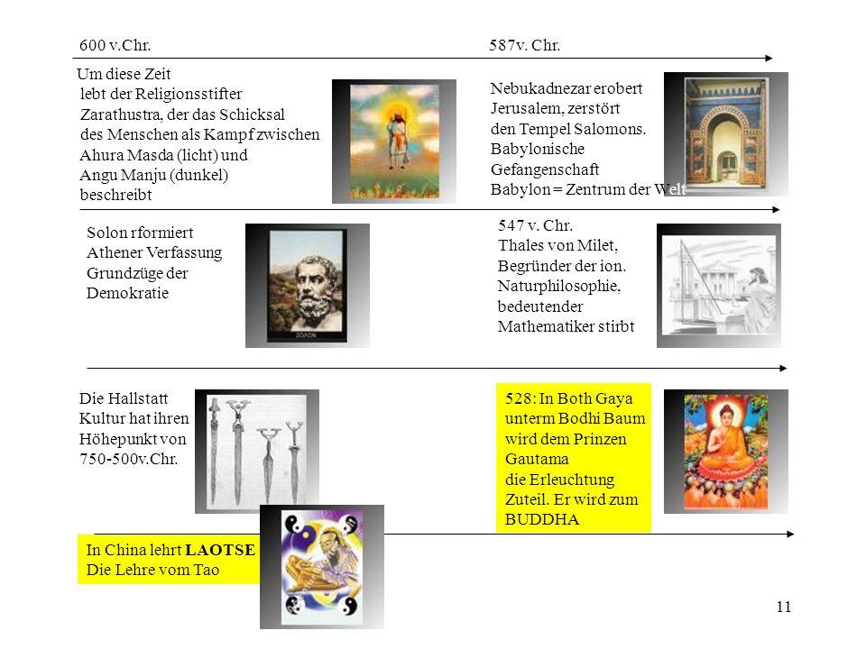 600 v.Chr. 587v. Chr. Um diese Zeit. lebt der Religionsstifter. Zarathustra, der das Schicksal.