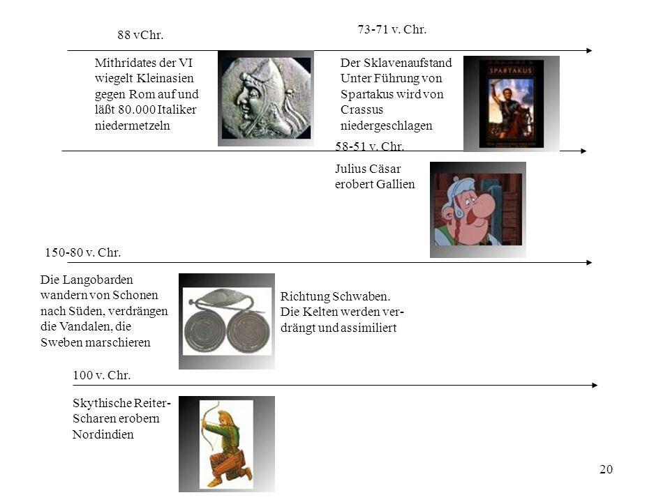 73-71 v. Chr. 88 vChr. Mithridates der VI. wiegelt Kleinasien. gegen Rom auf und. läßt 80.000 Italiker.