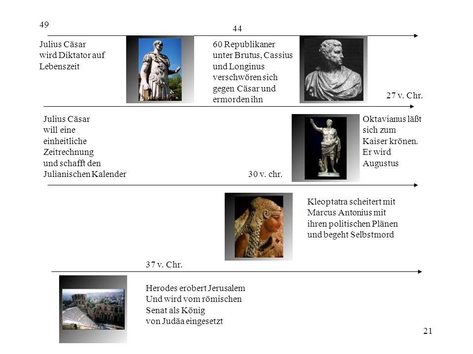 49 44. Julius Cäsar. wird Diktator auf. Lebenszeit. 60 Republikaner. unter Brutus, Cassius. und Longinus.