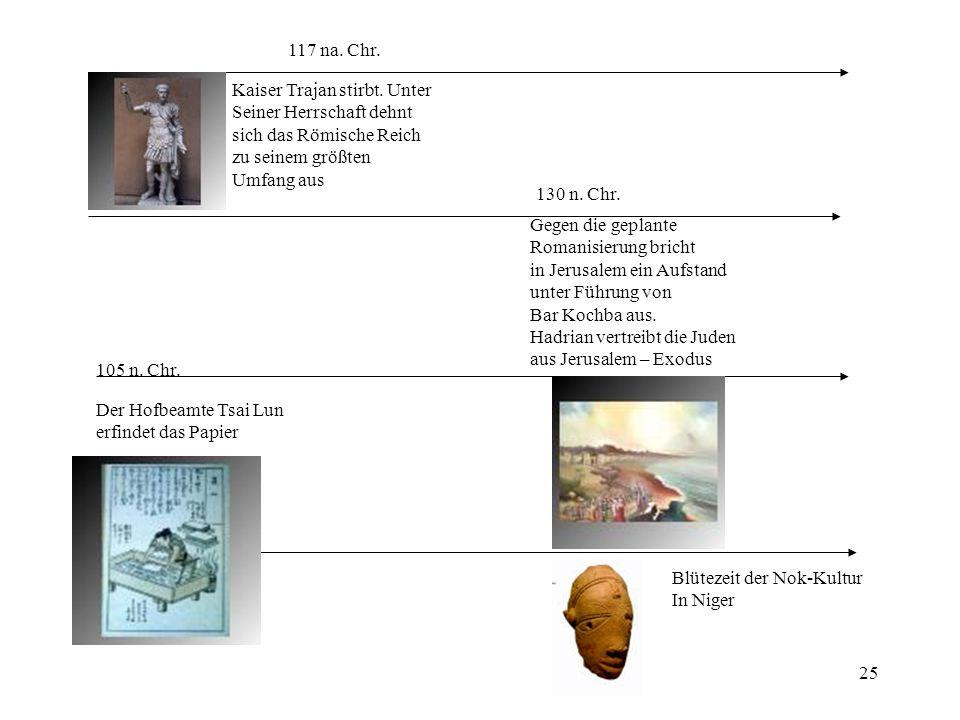 117 na. Chr. Kaiser Trajan stirbt. Unter. Seiner Herrschaft dehnt. sich das Römische Reich. zu seinem größten.