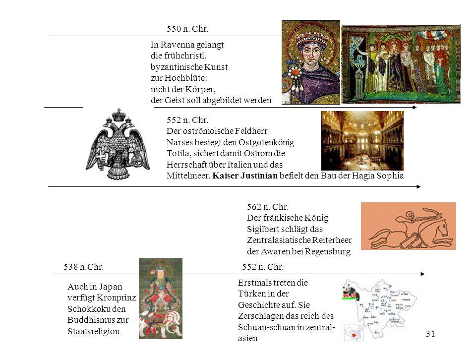 550 n. Chr. In Ravenna gelangt. die frühchristl. byzantinische Kunst. zur Hochblüte: nicht der Körper,