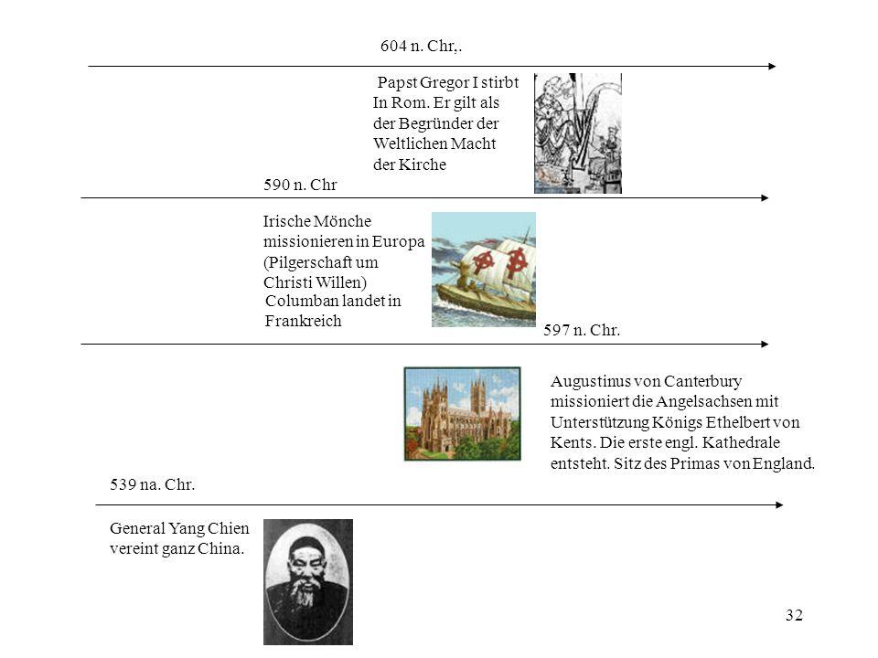 604 n. Chr,. Papst Gregor I stirbt. In Rom. Er gilt als. der Begründer der. Weltlichen Macht. der Kirche.