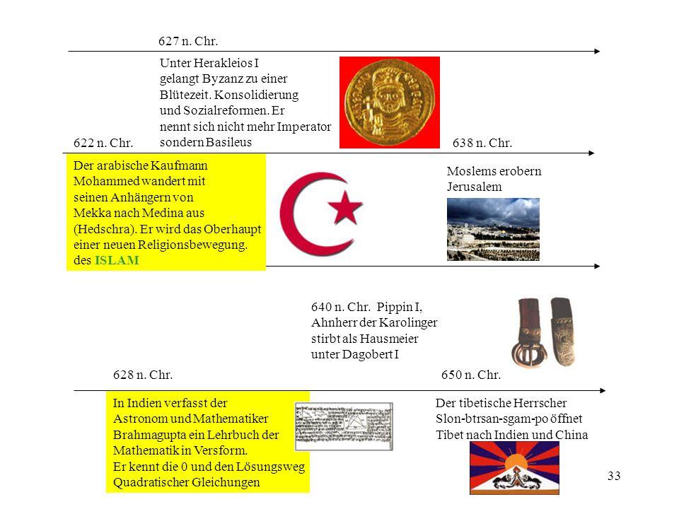 627 n. Chr. Unter Herakleios I. gelangt Byzanz zu einer. Blütezeit. Konsolidierung. und Sozialreformen. Er.