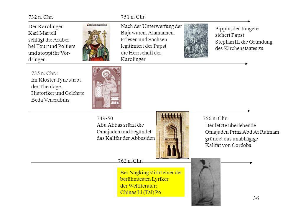 732 n. Chr. 751 n. Chr. Der Karolinger. Karl Martell. schlägt die Araber. bei Tour und Poitiers.